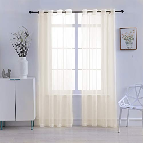 MUSIQUE Sheer Curtain Panels 2 Piece Sheer Voile Window Curtains Grommet Panels for Bedroom & Living Room 54 by 84 Inch (Cream) ()
