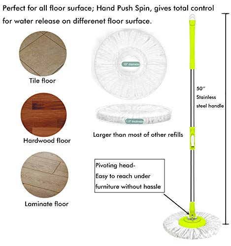 ALLZONE Spin Mop Bucket With Wringer On Wheels, Hardwood Floor Cleaning System, With 3 Microfiber Mop Refills by ALLZONE (Image #4)