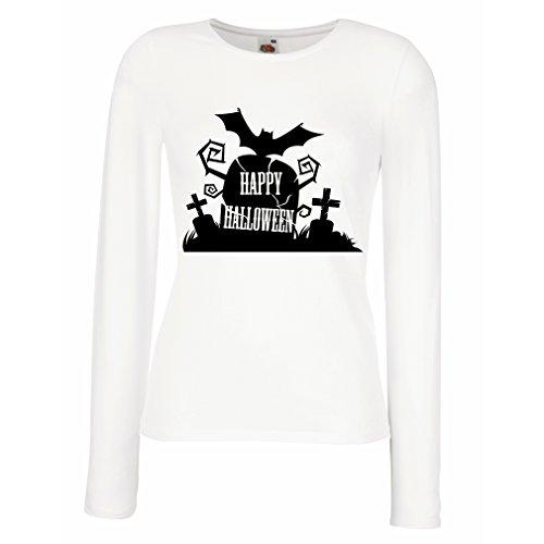 lepni.me T Shirt Women Halloween Graveyard Outfits - Costume Ideas - Cool Horror Design - All Saints' Eve - All Hallows' Evening (Large White Multi (Female Saint Costume Ideas)