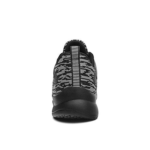 Leader Show Heren Lichtgewicht Ademende Veterschoenen Sport-schoenen Casual Wandelende Mode Sneakers Zwart-grijs
