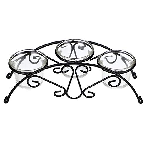 OwnMy Decorative Tea Light Candle Holder, Iron Centerpiece Bride Votive Candle Holder with 3 Clear Glass Cups for Table Top