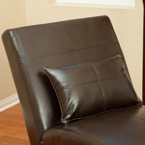 Amazon.com: Laguna Brown Leather Curved Chaise Lounge Chair And Pillow:  Kitchen U0026 Dining