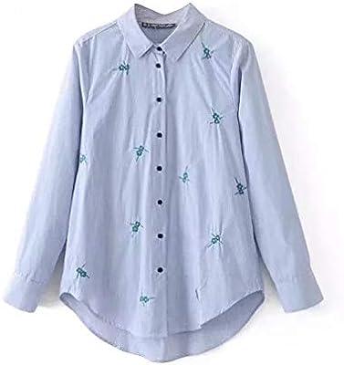Cnsdy Camisas para Mujeres Camisas Bordadas a Rayas Camisas para Mujeres Camisas para Mujeres Camisetas de Manga Larga: Amazon.es: Deportes y aire libre