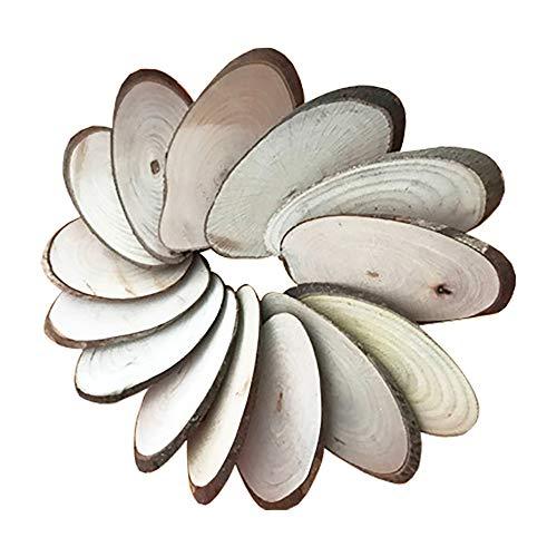 POFET - 10 rodajas de madera natural, ovaladas, 8 – 9 cm, rustico de corteza, disco de lena desgastado, centro de mesa de boda, decoracion de Navidad
