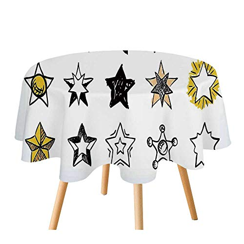 C COABALLA Star Polyester Round Tablecloth,Sweet Sixteen Stars Hand Drawn Style Colorful Art Rock Punk Themed Teen Room Design for Home Restaurant,55.1