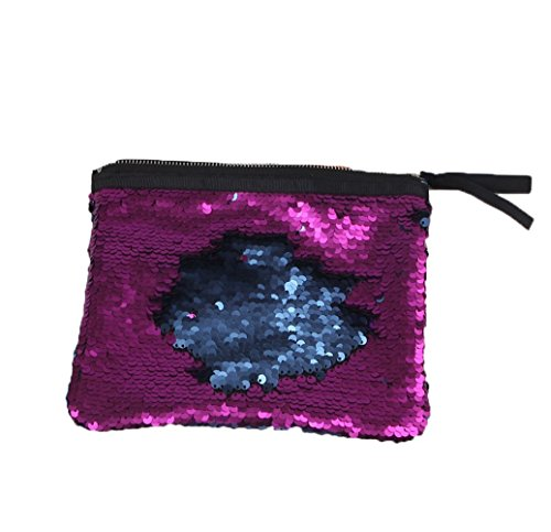 Menglihua Magic Reversible Mermaid Sequins Wallet Card Coin Phone Holder Gift Handbag BluePurple One Size (Wicker Chair Ikea)
