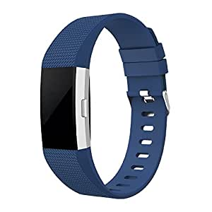 for Fitbit Charge 2 Band, Simpeak Classic Soft TPU Adjustable Replacement Bands Fitness Sport Strap for Fitbit Charge2 HR Tracker, Silver Buckle, Large Blue