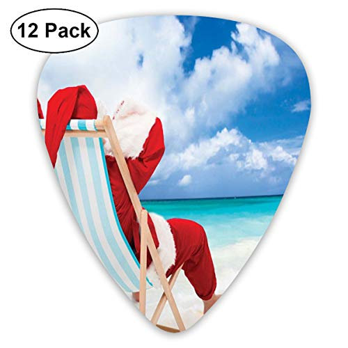 Celluloid Guitar Picks - 12 Pack,Abstract Art Colorful Designs,Santa On A Chair Near The Sea Exotic Beach Relaxing Summer Vacation Resting,For Bass Electric & Acoustic Guitars.