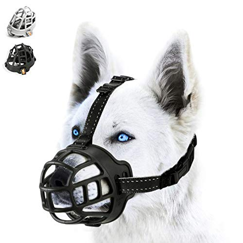 - wintchuk Soft Silicone Basket Dog Muzzle Mouth Cover with Nylon and Reflective Neck Straps for Small, Medium and Large Dogs, Anti Barking, Biting, Chewing and Licking, Adjustable-3