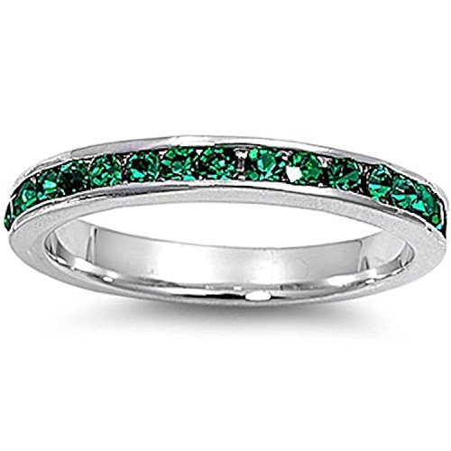 3mm Channel Set Full Eternity Wedding Band Ring Round Simulated Green Emerald 925 Sterling Silver, Size-8