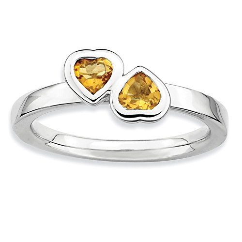 (Sterling Silver Stackable Double Heart Citrine Ring, Size 7)