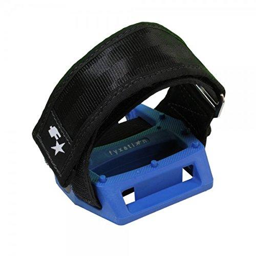 Fyxation Gates Pedalgurt mit blauem Pedal und schwarzen Gurten