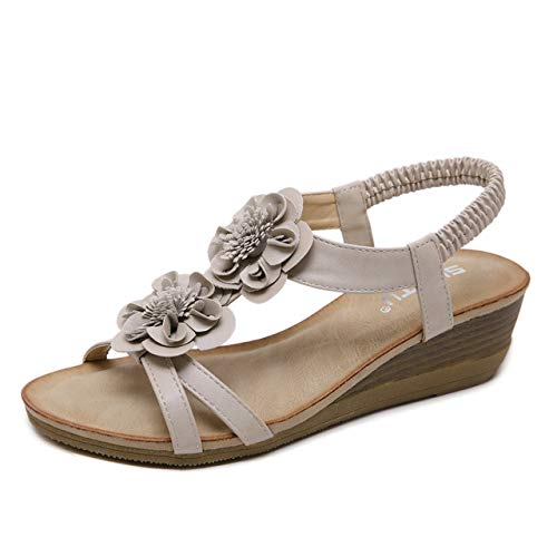 Apricot Wedge Sandals Women's, Summer shoes Large Size Platform Flats Bohemian Flower Decoration, Suitable for Swimming Pool, Vacation, Home, Daily Wear