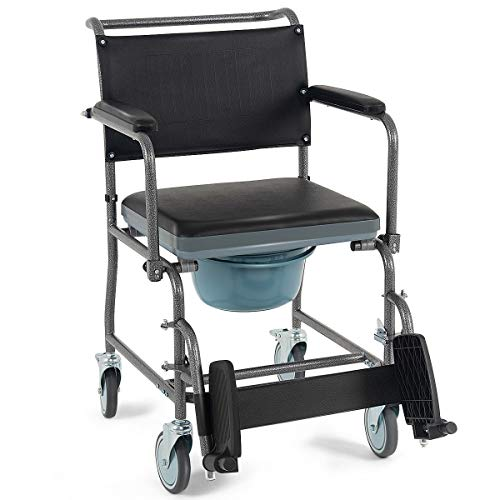 LordBee Multi-Function Use Medical Transport Toilet Commode Wheelchair