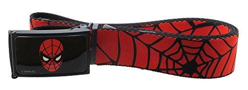 """Spiderman Web Belt 1.5"""" Wide Spiderweb Red/Black"""