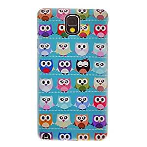 DUR Green Ground Cute Cartoon Owls Smooth Painting Pattern Protective Hard Back Cover Case for Samsung Galaxy Note3 N9006