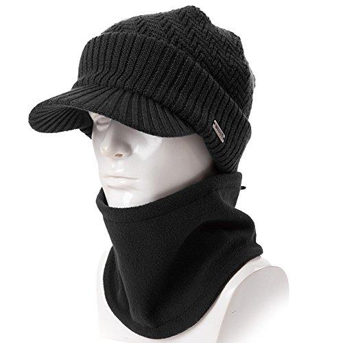 909f47bab03 Siggi Wool Knit Visor Beanie Winter Hat Scarf Sets Fleece Mask Neck Warmer  for Men  Amazon.co.uk  Clothing