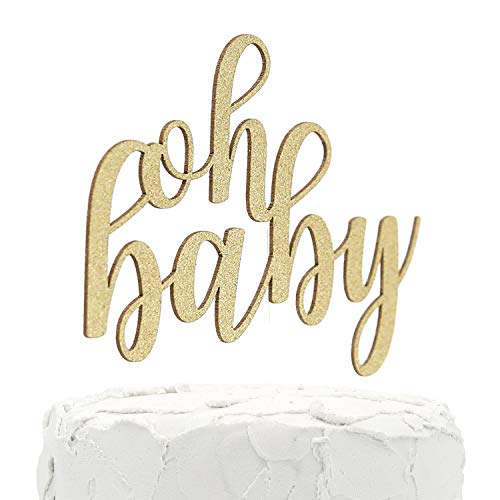 NANASUKO Baby Shower Cake Topper - oh baby - Double Sided Gold Glitter - Premium Quality Made in USA