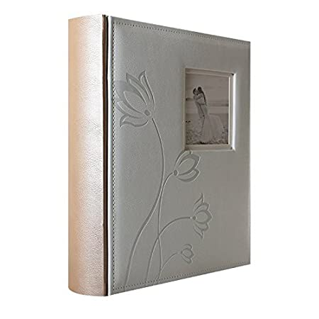 Lcd Traditional Wedding Photo Album 100 Black Pages White Flower