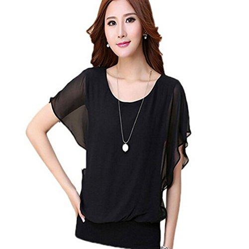 Women Casual Short Sleeve Slim Batwin Chiffon T-shirts Elegant Tops Blouse
