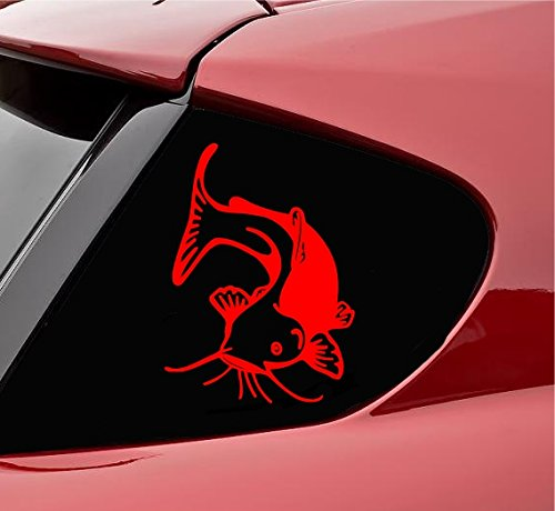 Slap-Art Cute catfish Vinyl Decal Sticker (Red)