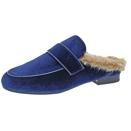 Steve Madden Kaden Women's Faux Fur Velvet Loafer Mule Shoe Blue Size 7