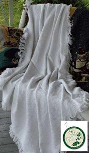 """White Eco2Cotton Afghan Throw Blanket 50"""" x 60"""""""