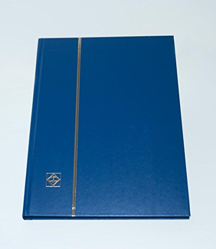 - Lighthouse Hardcover Stamp Album Stockbook With 32 Black Pages, Blue, LS4/16