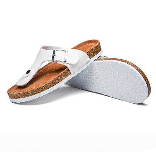 gracosy Women Leather Mules Clogs Ladies Flip Flop Sandals Beach Slipper Summer Breathable Sport Sandals Open Toe Shoes Slip on Flat Sandals Wedge Heel Clogs Walking Garden Shoes Szie White Z4UAK