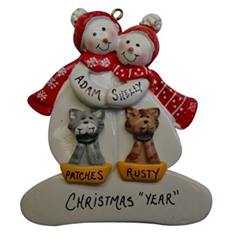 Lonestar Wholesalers Personalized Snowman Couple - Family of 2 Plus 2 Dogs or Cats Christmas Ornament (Personalized Christmas Ornaments Couple With 2 Dogs)
