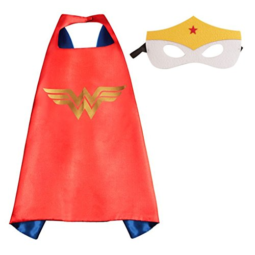 Whoopgifts Wonder Woman Superhero Cape and Mask Set Kids, Adult Halloween Costume, 90CM x 70CM