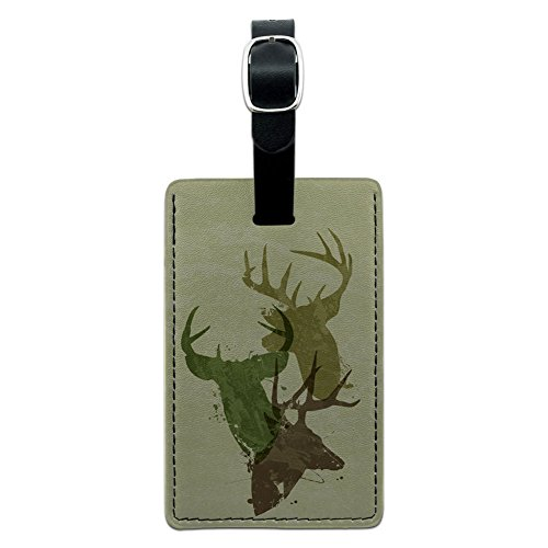 Camouflage Luggage Tag - Graphics & More Deer Heads Design-Hunting Hunter Camouflage Leather Luggage Id Tag Suitcase, Black