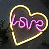 DELICORE Love in Heart Neon Sign, LED Neon Light Sign with Holder Base for Party Supplies Girls Room Decoration Accessory for Summer Party Table Decoration Children Kids Gifts (Love in Heart)