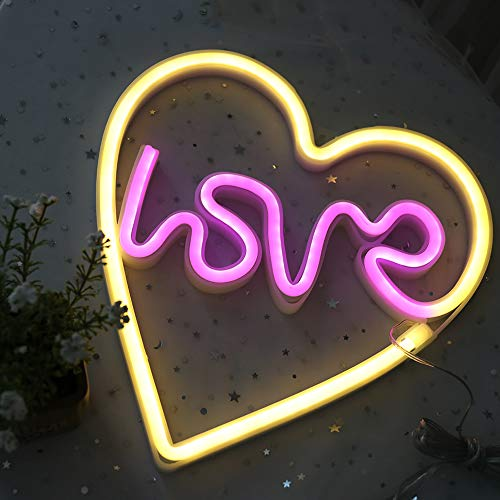 DELICORE Love in Heart Neon Sign, LED Neon Light Sign with Holder Base for Party Supplies Girls Room Decoration Accessory for Summer Party Table Decoration Children Kids Gifts (Love in Heart) by DELICORE