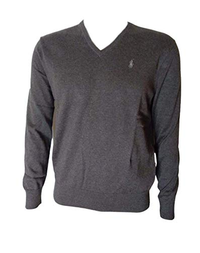 Ralph Lauren Polo Mens Pima Cotton V-Neck Sweater, Winter Brown, Large