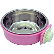 RUBYHOME Dog Bowl Feeder Pet Puppy Food Water Bowl, 2-in-1 Plastic Bowl & Stainless Steel Bowl, Removable Hanging Cat Rabbit Bird Food Basin Dish Perfect for Crates & Cages, Pink