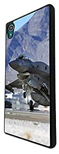 912 - Army jet fighter look F-16 Design For Sony Xperia Z4 Fashion Trend CASE Back COVER Plastic&Thin Metal - Black