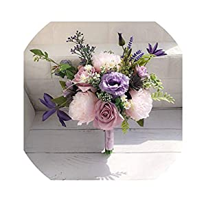 Lilac Lavender Purple Wedding Bouquet for Country Wedding Flowers Bridal Bouquet Artificial Blush Pink Roses Ramo De Flores 73
