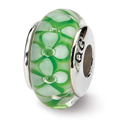 Prerogatives Sterling Green Floral Glass Bead