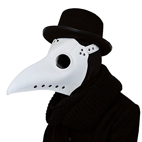 Lubber Plague Doctor Bird Mask Gothic Cosplay Retro Steampunk Props for Halloween(White)