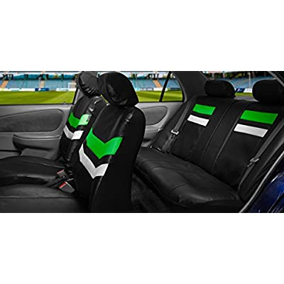 FH Group Leather Full Set Seat Covers Green Airbag Safe PU006GREEN115 & Split Bench Ready: Automotive