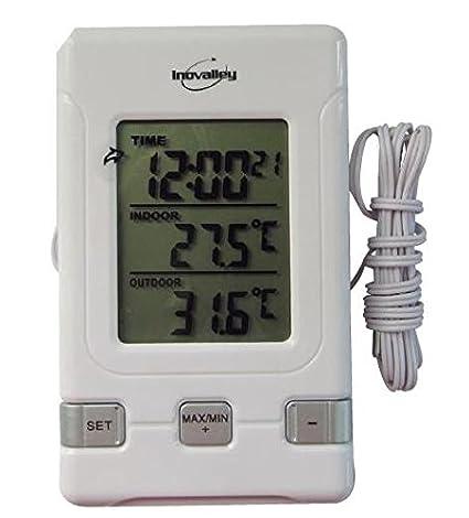 Termometro digital con sonda interior y exterior - Termometros digitales para interiores y exteriores