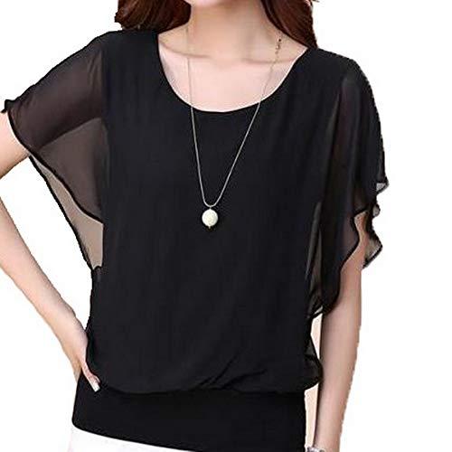 Noir Shirt en Mousseline T Mousseline en Manches Courtes Dayumoo Uvq8w