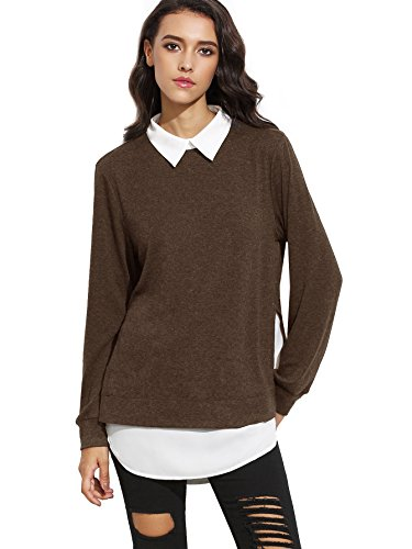 (Romwe Women's Classic Collar Long Sleeve Curved Hem Pullover Sweatshirt Brown)