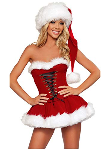 Women's Sexy Santa Mrs Claus Costumes Adult Christmas Holiday Fancy Dress with Hat Sets (M, Red)