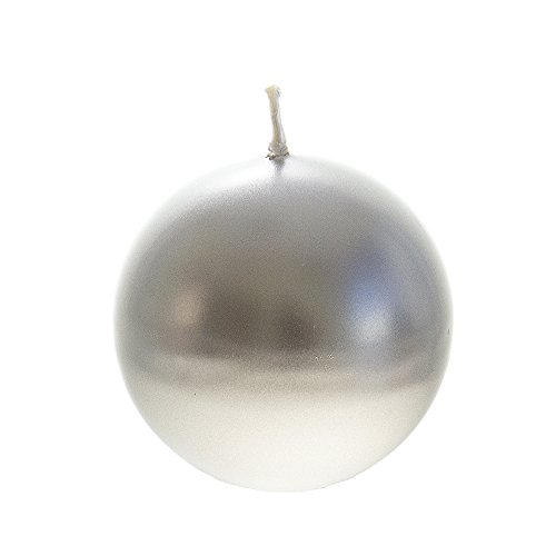 Silver Round Candle - Mega Candles Unscented Silver Ball Candle | Hand Poured Premium Wax Candles 3