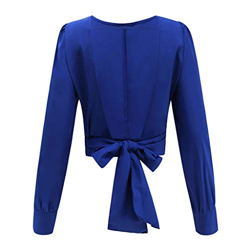 Shirt T Bow Backless Jutoo Sleeve Casual Long 2019 Tops Blouse Womens Azul wnxS87