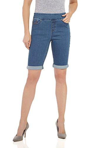 Rekucci Women's Ease In To Comfort Fit Stretch Jean Bermuda Short W/Cuff (8,MD. Stone Wash) Jegging Short