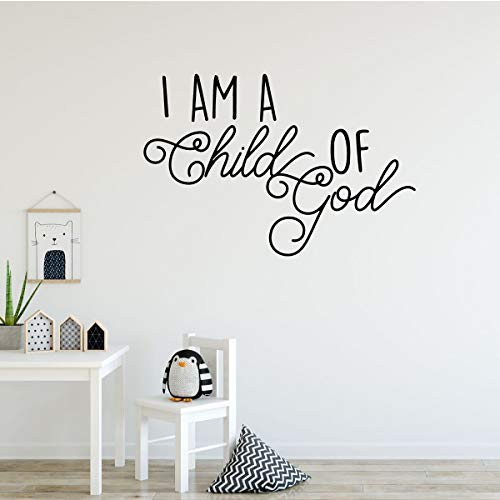 I Am a Child of God Vinyl Wall Decal - Christian Home Decor for Playroom, Nursery, Children's Bedroom, Church -