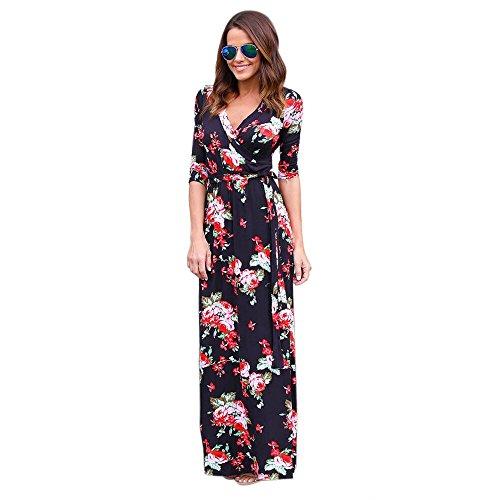 SKY Mujeres V cuello Boho largo Maxi noche vestido de playa de la fiesta Floral Sundress Negro